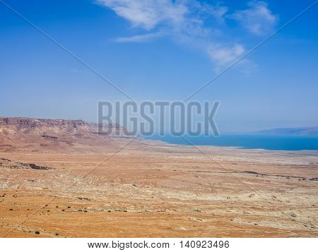 View of the desert and the Dead Sea from fortress of Masada in the Judean Desert, Israel