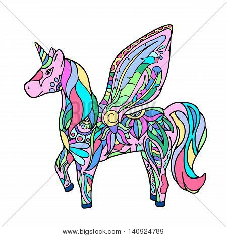 Colorful unicorn - hand-drawn vector illustration. Magic animal cartoon style drawing. Hornicorn icon. Unicorn isolated on white. Colorful nursery art. Fairy tale character. Horse with horn and wings