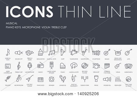 Thin Stroke Line Icons of Music on White Background