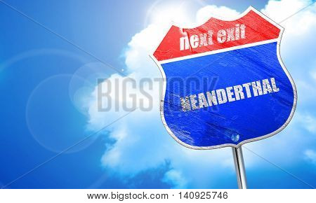 neanderthal, 3D rendering, blue street sign