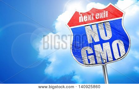 no gmo, 3D rendering, blue street sign