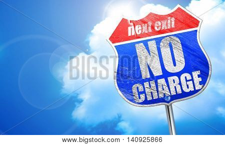 no charge, 3D rendering, blue street sign