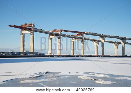 A view of the construction of the Central section of Western high-speed diameter in the Gulf of Finland, february day. Saint Petersburg