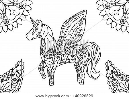 Unicorn with mandalas coloring page. Hornicorn outlined vector illustration. Magic animal coloring picture. Sweet dream nursery art. Fairy tale character. Horse with horn and wings. Fairy tale picture poster