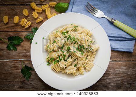 italian pasta radiatori with gorgonzola cheese and parsley on plate