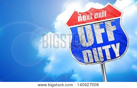 off duty, 3D rendering, blue street sign