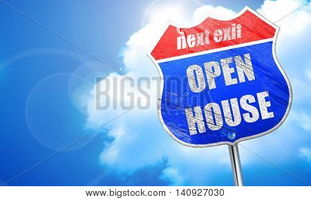 Open house sign, 3D rendering, blue street sign