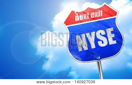 nyse, 3D rendering, blue street sign