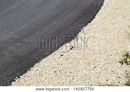 View of a white line of a tarred road