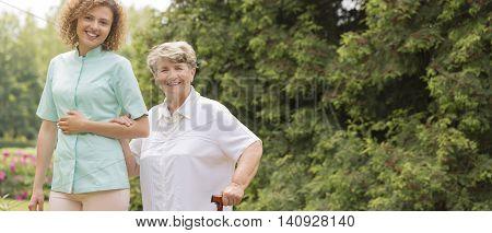 Elderly With Walking Stick