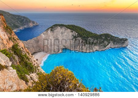 Navagio Beach (Shipwreck beach) at sunset on Zakynthos Island, Greece