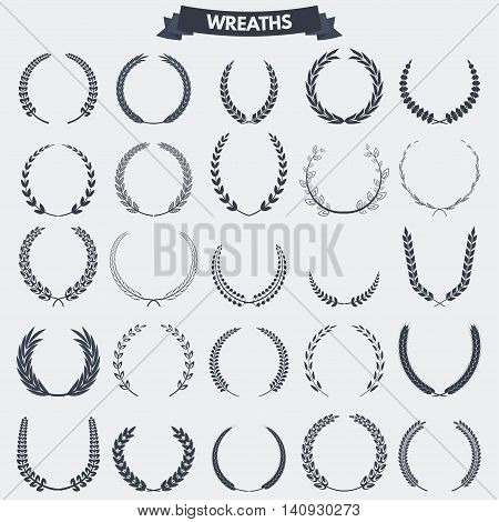 Set of retro vintage laurel wreaths icons and emblems badges and signs for logotype or other graphic or printing awards and symbols.