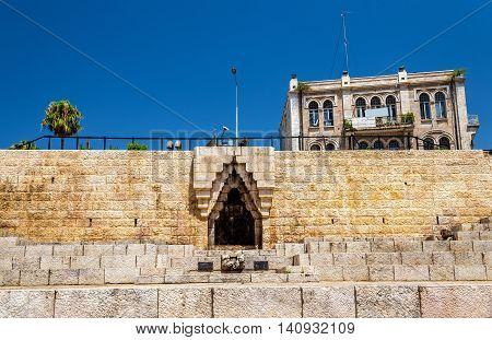 City wall of Jerusalem at Damascus Gate - Israel