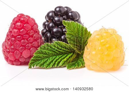 raspberries and blackberries with leaf isolated on white background.