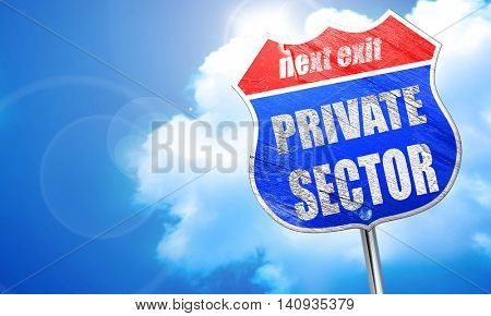 private sector, 3D rendering, blue street sign