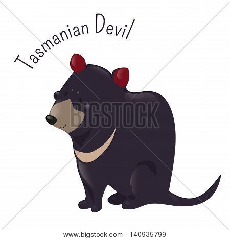 Cartoon Tasmanian devil isolated on white. Carnivorous marsupial of the family Dasyuridae. Sarcophilus harrisii. Australia. Part of series of various australian animal species. Wildlife. Vector