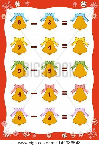 Counting Educational Game For Children. Subtraction Christmas Worksheets