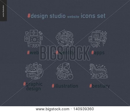 Design studio website outlined icons set - contemporary flat vector icons of web design, identity, graphic design, app development, illustration and team bestiary, for design studio website, on dark