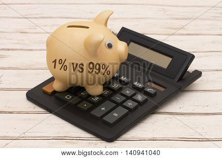 Rich versus the poor A golden piggy bank and calculator on a wood background with text 1% vs 99%
