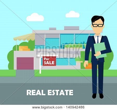 Real estate broker at work. Real estate agent, house building, property home, realtor and rent, sale housing, buy apartment. Part of series of modern buildings in flat design style. Vector