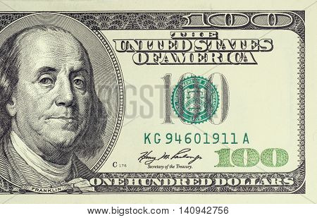 Closeup photo of a 100 dollar bill