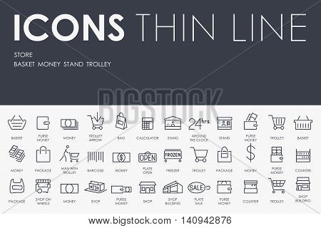 Thin Stroke Line Icons of Store on White Background