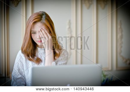 Woman  With Laptop Watching Horror Movie