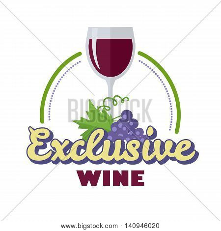 Exclusive wine. For labels, tags, tallies, posters, banners of check elite vintage wines. Logo icon symbol. Winemaking concept. Part of series of viniculture production and preparation items. Vector