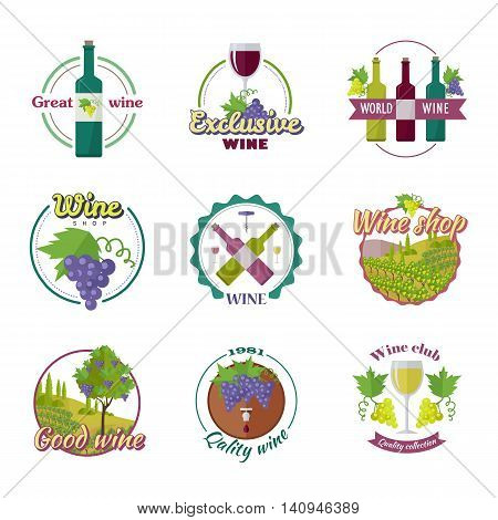 Great exclusive world wine. Good quality wine collection. For labels, tags, tallies, posters, banners of check elite vintage vines. Logo icon symbol. Part of series of viniculture production. Vector