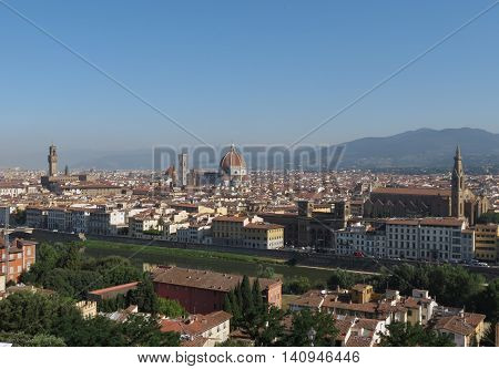 Florence cityscape panorama as seen from Piazzale Michelangelo