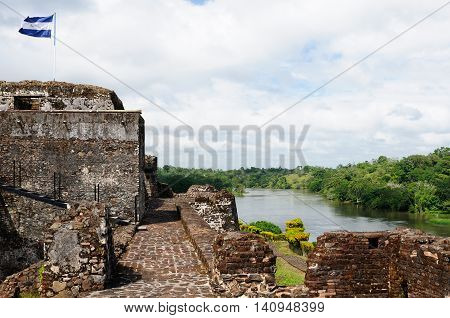 Central America Nicaragua Spanish defensive fortification in of El Castillo on a river bank San Juan defending the access to the city of Grenada against pirates.