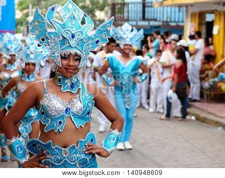 SAN JUAN NICARAGUA - NOVEMBER 24: Portrait of the participant in the parade in the city San Juan of Nicaragua in Central America in November 24 2012