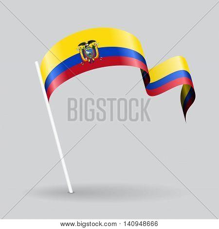 Ecuadorian pin icon wavy flag. Vector illustration.