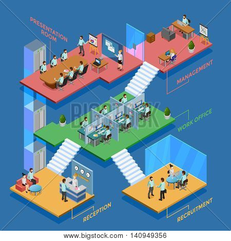 Many-storeyed isometric office with clerks at their workplaces vector illustration