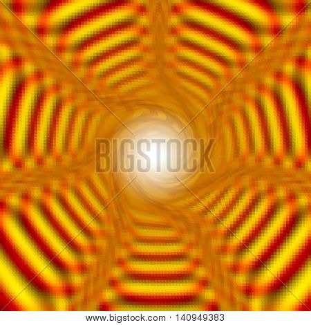 Abstract background of gold layered concentric stripes converging to one point. Gold, red and orange rotating background creating anillusion of movement. Light in the tunnel