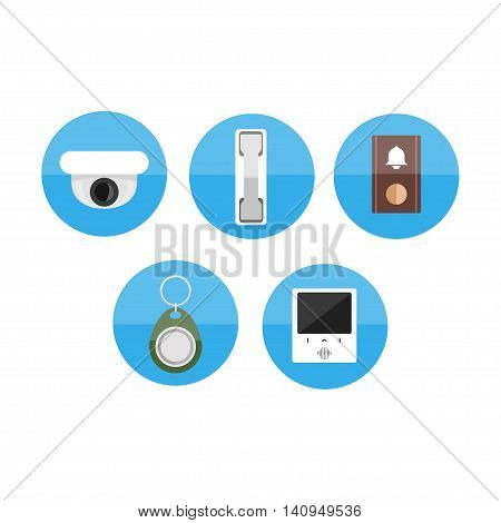 intercom vector flat blue icon illustration set