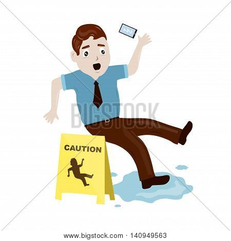 businessman slipped on a wet floor illustration