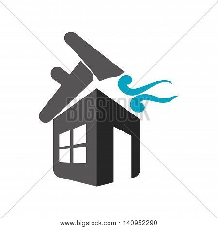 twister house home insurance accident protection icon. Isolated and flat illustration. Vector graphic