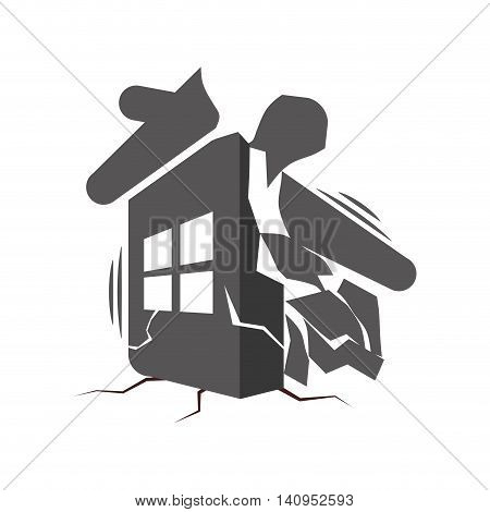 collapse house home insurance accident protection icon. Isolated and flat illustration. Vector graphic