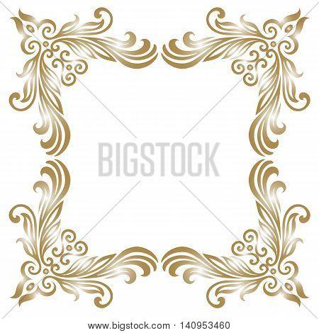 Premium Gold vintage baroque frame scroll ornament engraving border floral retro pattern antique style acanthus foliage swirl decorative design element filigree calligraphy