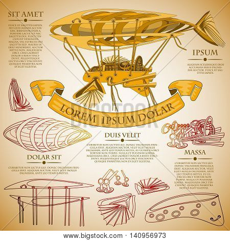 Fantastic Zeppelin airship paper plan. Futuristic or steampunk tattoo design. Isolated vector collapsible composition.
