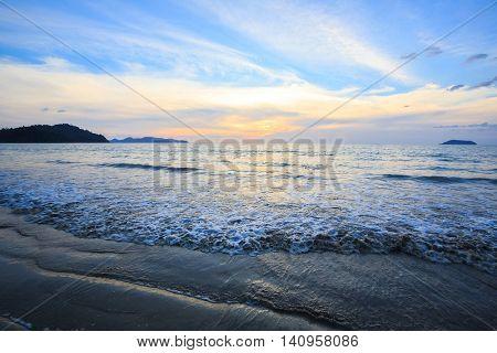 Sunset at Andaman Beach coast in Surin Island National Park Phuket Thailand