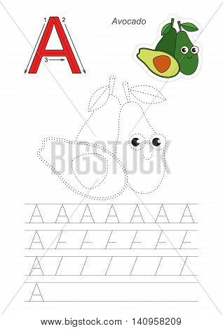 Vector illustrated worksheet. Learn handwriting. Gaming and education. Page to be traced. Easy educational kid game. Simple level. Complete eng alphabet. Tracing worksheet for letter A. Ripe Avocado.