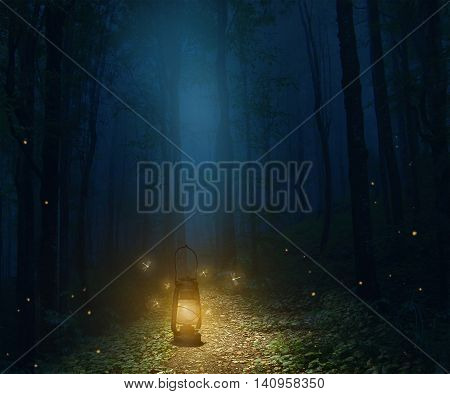 a lamp in the middle of the trail in a forest