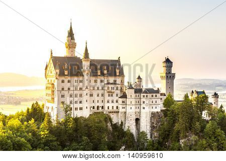 Beautiful summer romantic view of the Neuschwanstein castle at Fussen Bavaria, Germany