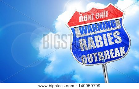 Rabies virus concept background, 3D rendering, blue street sign