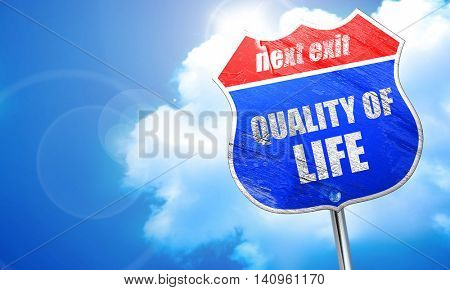 quality of life, 3D rendering, blue street sign