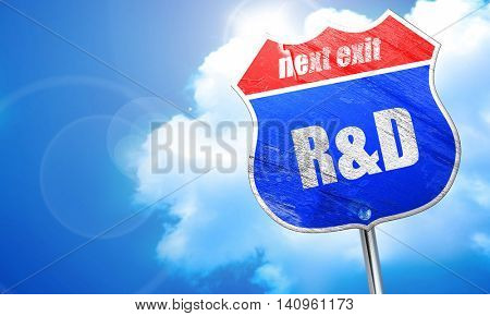R and D, 3D rendering, blue street sign