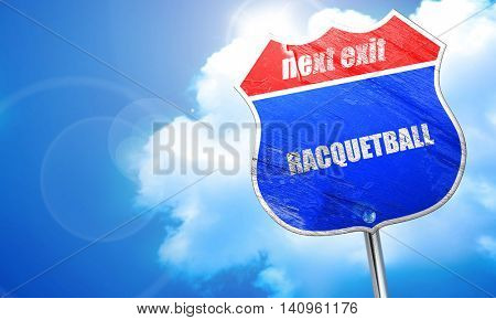 racquetball, 3D rendering, blue street sign