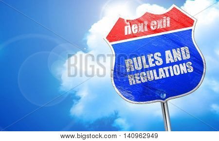 rules and regulations, 3D rendering, blue street sign
